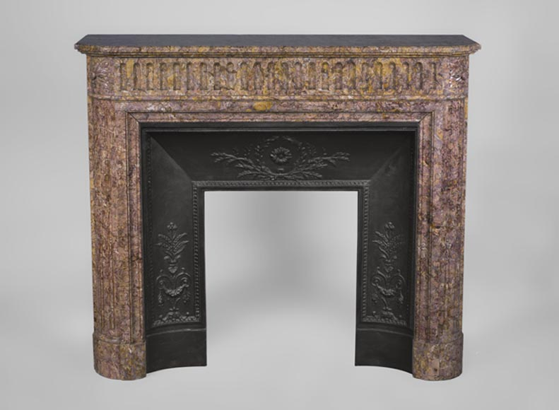 Antique Louis XVI style fireplace with rounded corners and flutings in pink Brocatelle marble - Reference 3273
