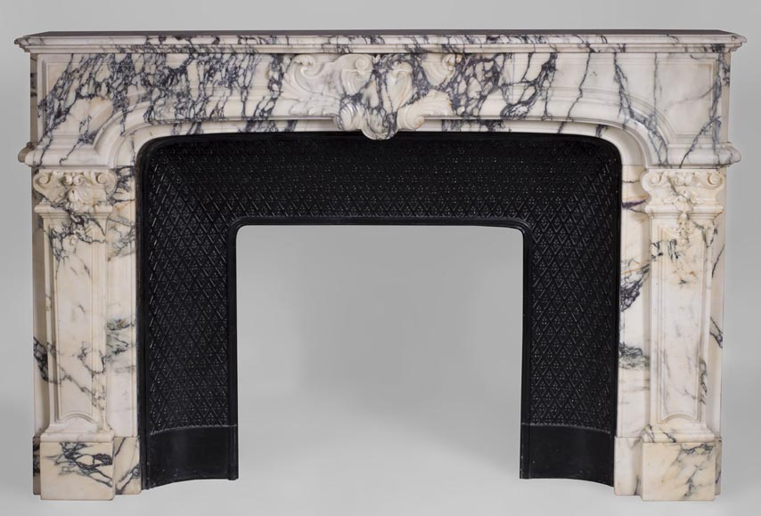 Antique Regence style fireplace in Paonazzo marble-0