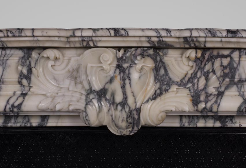 Antique Regence style fireplace in Paonazzo marble-1