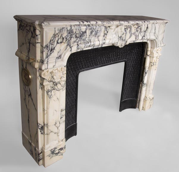 Antique Regence style fireplace in Paonazzo marble-3