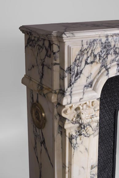 Antique Regence style fireplace in Paonazzo marble-4