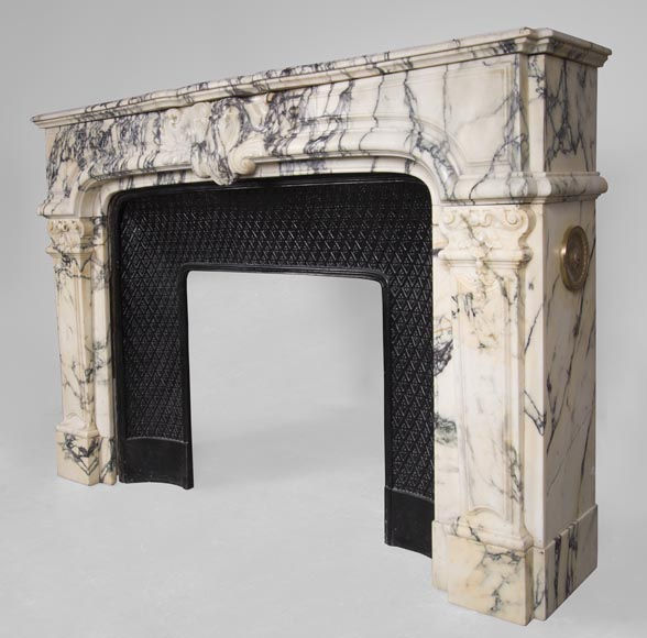 Antique Regence style fireplace in Paonazzo marble-6