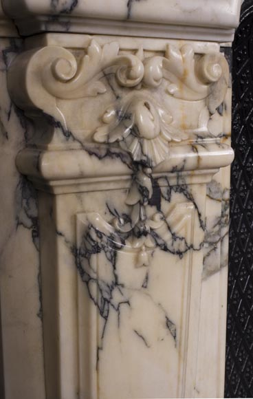 Antique Regence style fireplace in Paonazzo marble-8