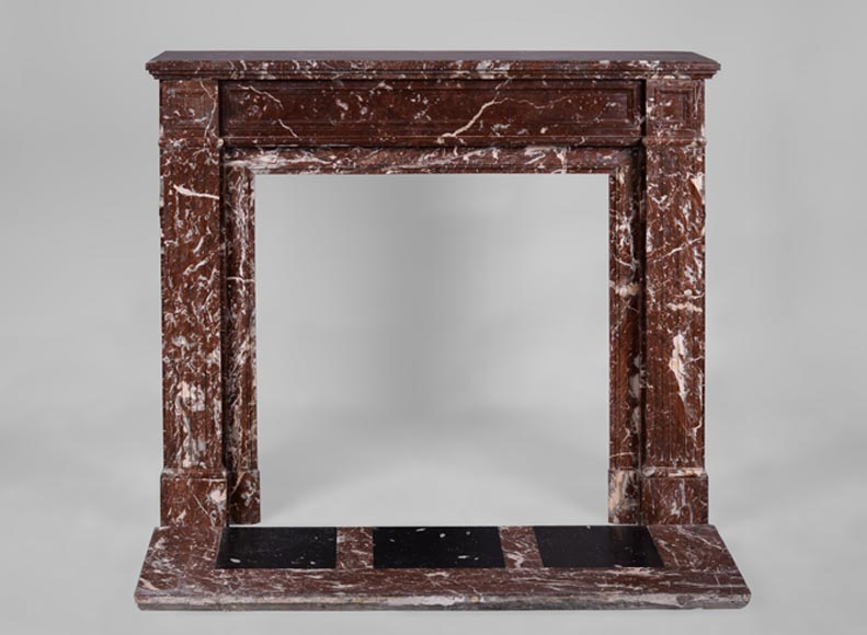 Antique Louis XVI style fireplace in Red from the North marble - Reference 3276