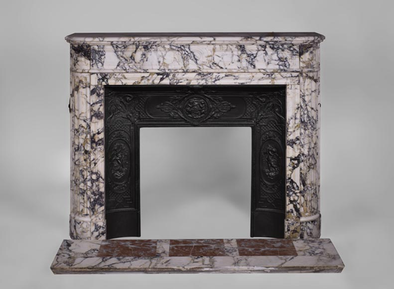 Antique Louis XVI style fireplace with rounded corners in Serravezza marble - Reference 3280