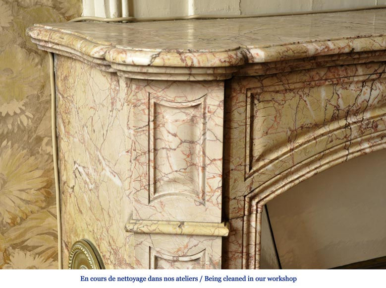 Antique Louis XV style fireplace in Breccia Nuvolata marble with its Carrara marble shell-3