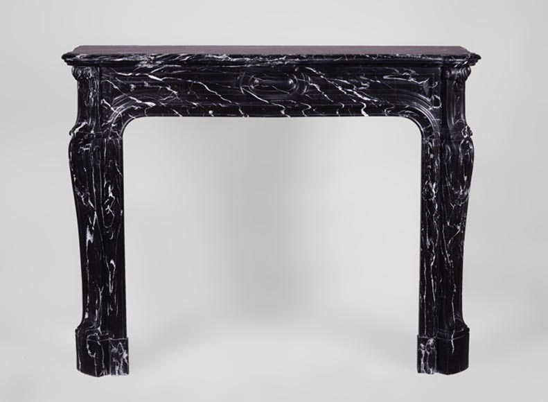 Antique Louis XV style fireplace, Pompadour model, in Black Marquina marble  - Reference 3293