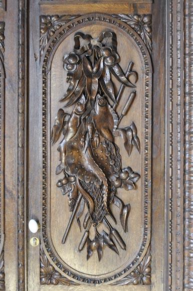 Oak Paneled Room: Large Antique Carved Oak Wood Paneled Room With Hunting
