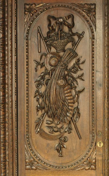 Large antique carved oak wood paneled room with hunting trophies and still lifes decor-6