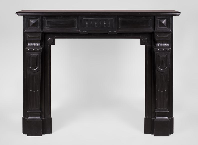 Antique Napoleon III style fireplace with diamond points in Black Belgium marble -0
