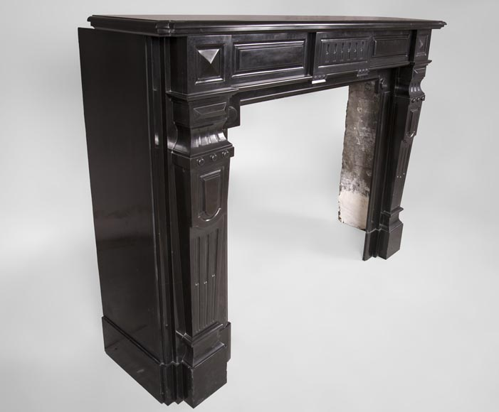 Antique Napoleon III style fireplace with diamond points in Black Belgium marble -3