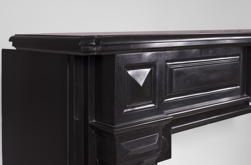 Antique Napoleon III style fireplace with diamond points in Black Belgium marble -4