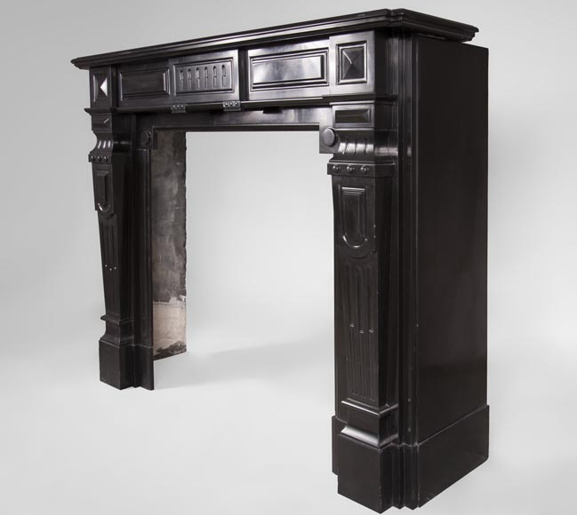 Antique Napoleon III style fireplace with diamond points in Black Belgium marble -7