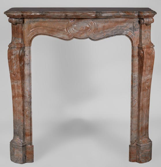 Antique Louis XV style fireplace, Pompadour model, in Rose Enjugerais marble - Reference 3296