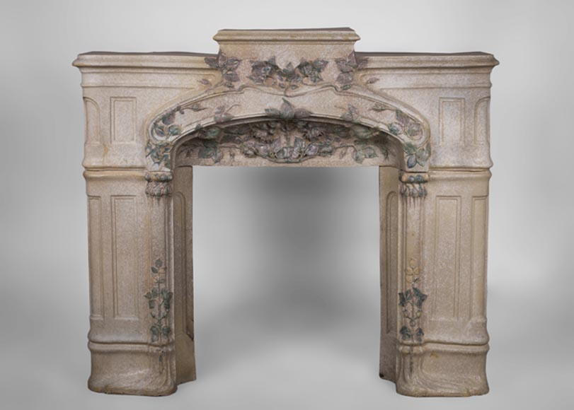Rare antique Art Nouveau fireplace made out of stoneware ornated with foliages - Reference 3300