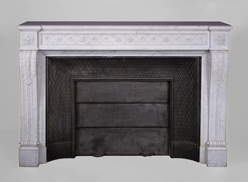 Very beautiful antique Louis XVI style fireplace with flowers frieze in Carrara marble - Reference 3301