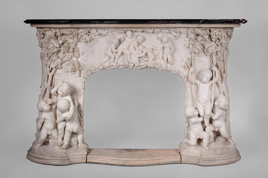 The Games of Childhood, extraordinary antique Statuary marble fireplace carved in high relief with putti-0