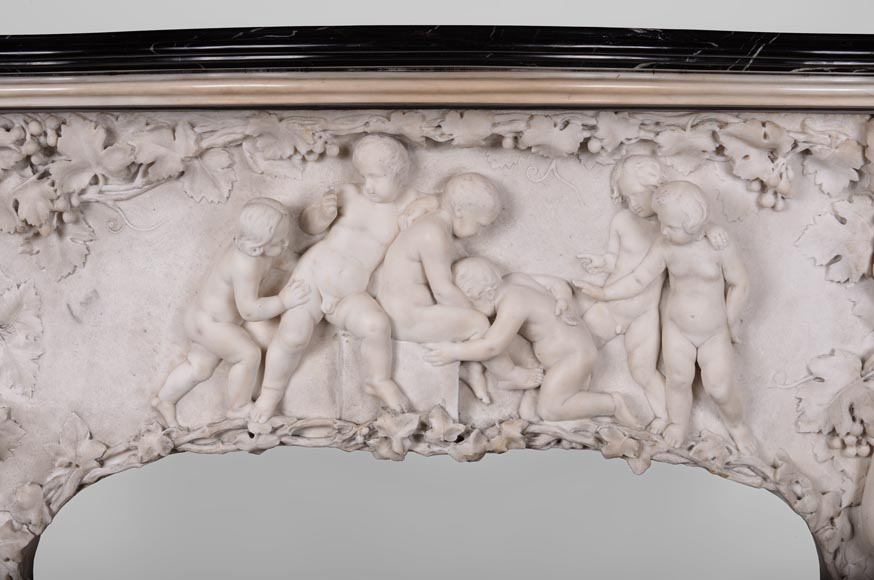 The Games of Childhood, extraordinary antique Statuary marble fireplace carved in high relief with putti-1