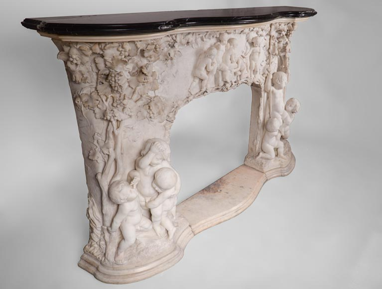 The Games of Childhood, extraordinary antique Statuary marble fireplace carved in high relief with putti-2