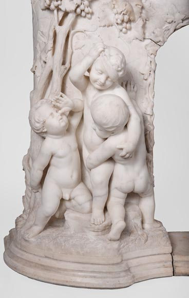 The Games of Childhood, extraordinary antique Statuary marble fireplace carved in high relief with putti-3