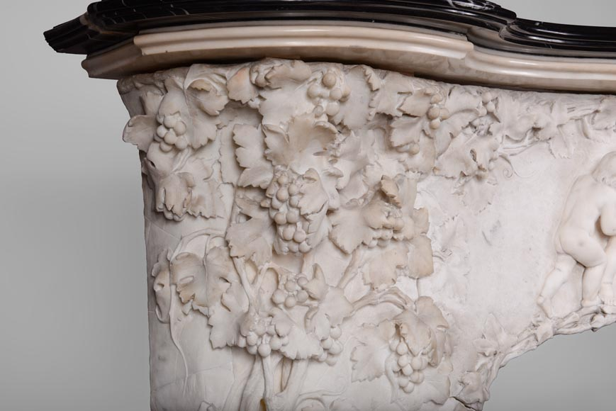 The Games of Childhood, extraordinary antique Statuary marble fireplace carved in high relief with putti-4