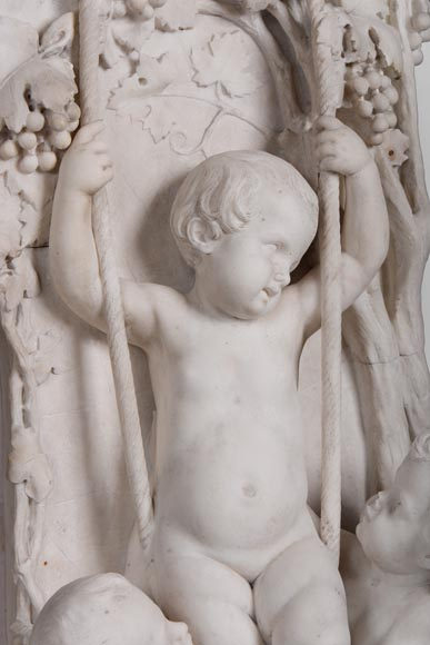 The Games of Childhood, extraordinary antique Statuary marble fireplace carved in high relief with putti-6