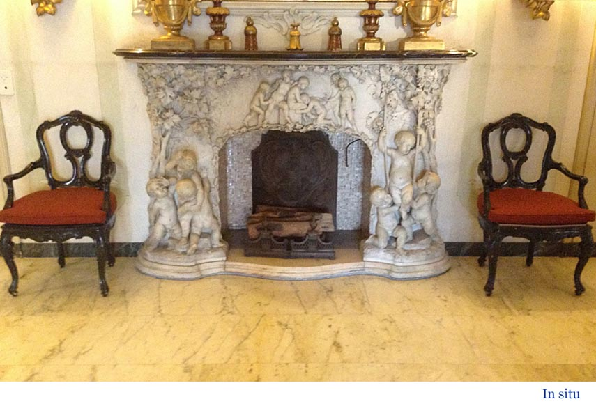 The Games of Childhood, extraordinary antique Statuary marble fireplace carved in high relief with putti-9