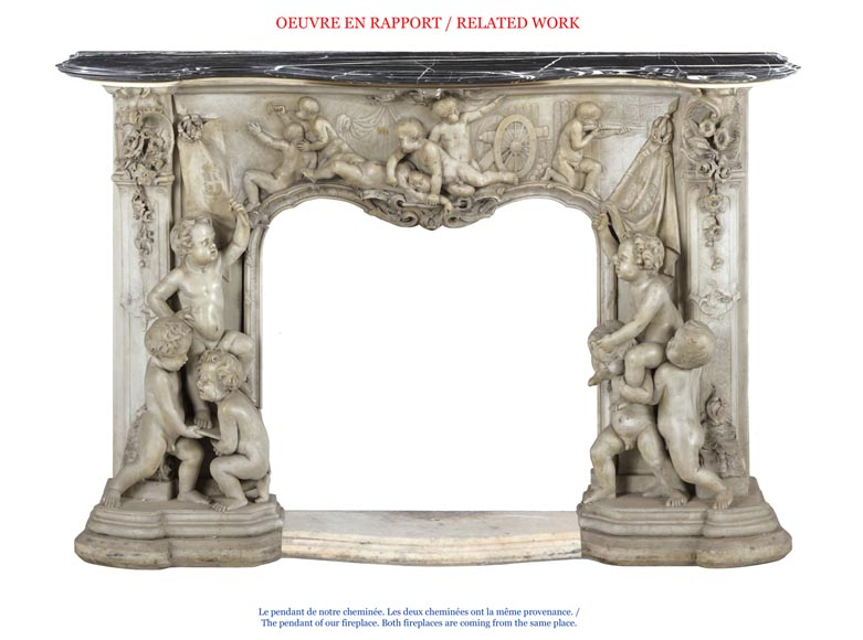 The Games of Childhood, extraordinary antique Statuary marble fireplace carved in high relief with putti-10