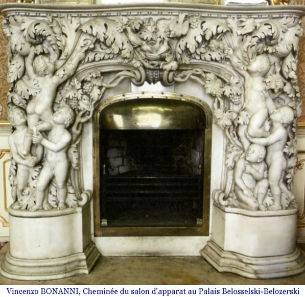 The Games of Childhood, extraordinary antique Statuary marble fireplace carved in high relief with putti-11