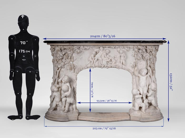 The Games of Childhood, extraordinary antique Statuary marble fireplace carved in high relief with putti-13