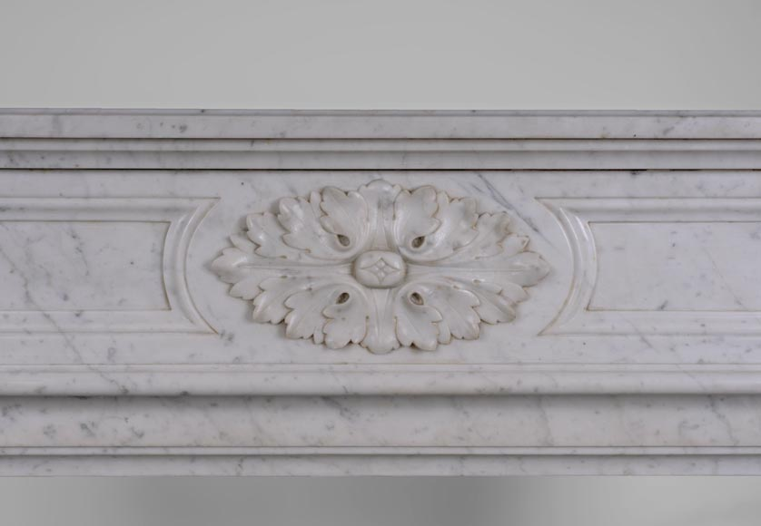 Large antique Louis XVI style fireplace with rounded corners in white Carrara marble-1