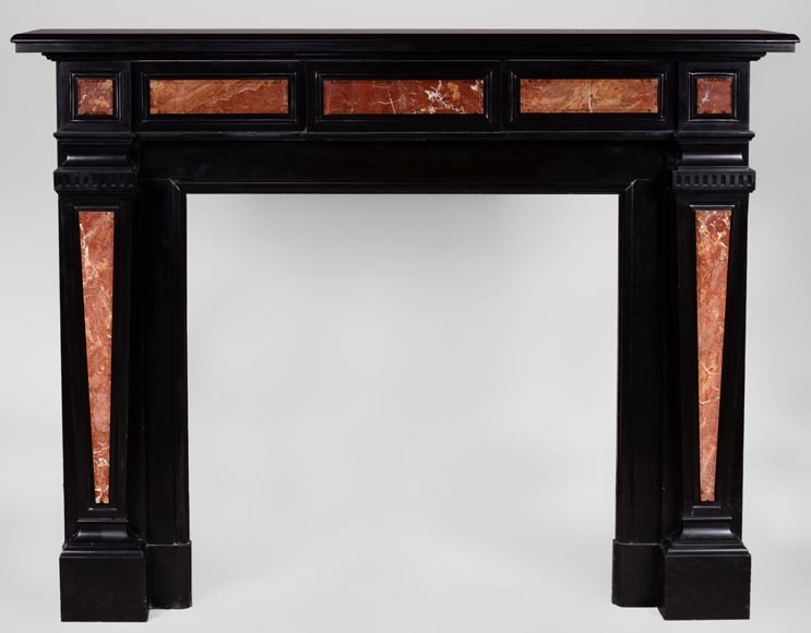"Antique Napoleon III style fireplace in Belgian Black marble with ""Breche Sanguine"" marble inlays - Reference 3306"