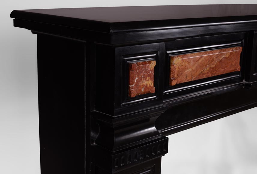 Antique Napoleon III style fireplace in Belgian Black marble with