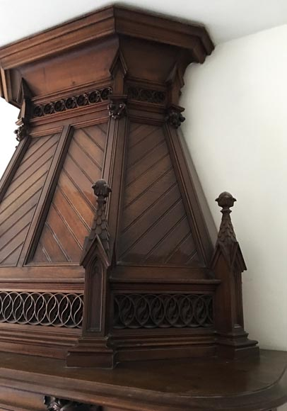 Large Antique Neo Gothic Style Fireplace With Hood In