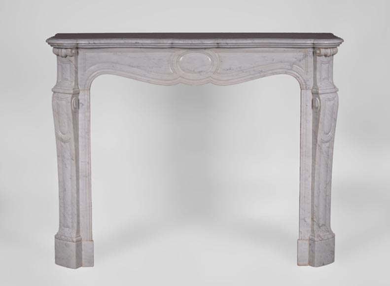 Antique Louis XV style fireplace, Pompadour model, in white Carrara marble - Reference 3312