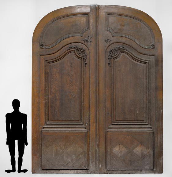 Important and rare door from an Haussmannian building in oakwood, late 19th century - Reference 3318