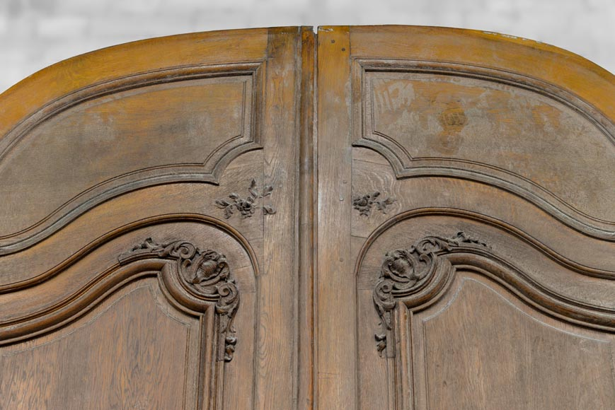 Important and rare door from an Haussmannian building in oakwood, late 19th century-1