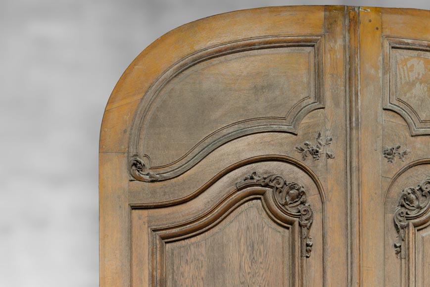 Important and rare door from an Haussmannian building in oakwood, late 19th century-2