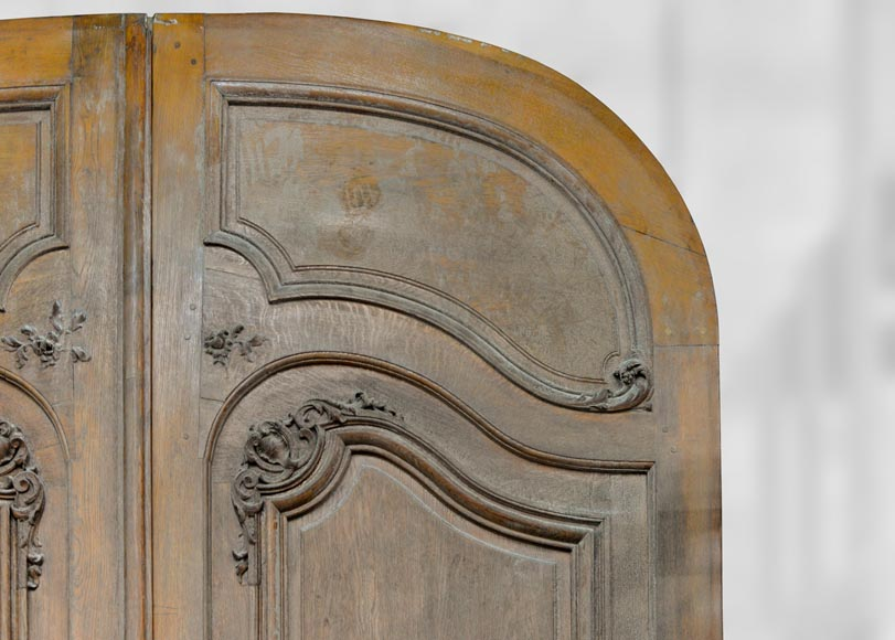 Important and rare door from an Haussmannian building in oakwood, late 19th century-3