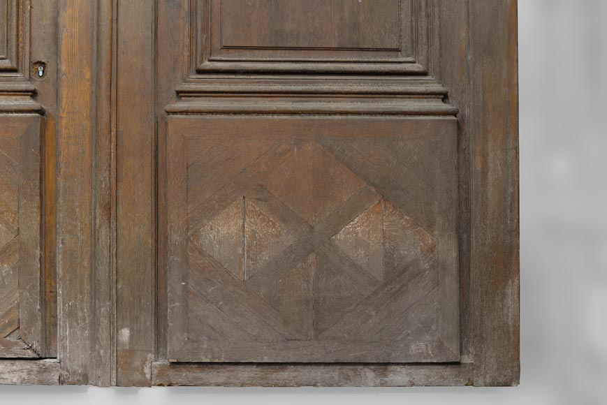 Important and rare door from an Haussmannian building in oakwood, late 19th century-4