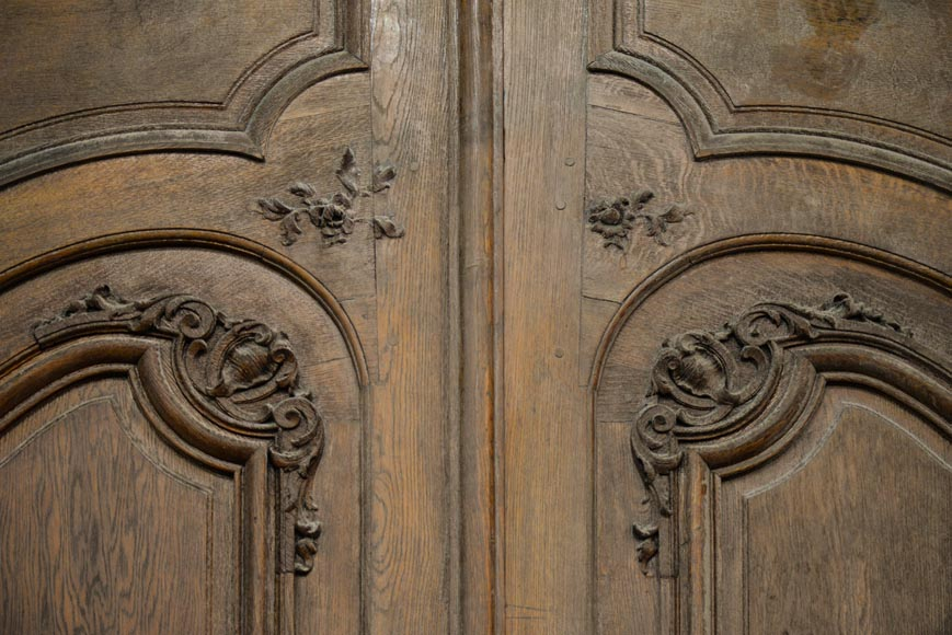Important and rare door from an Haussmannian building in oakwood, late 19th century-5
