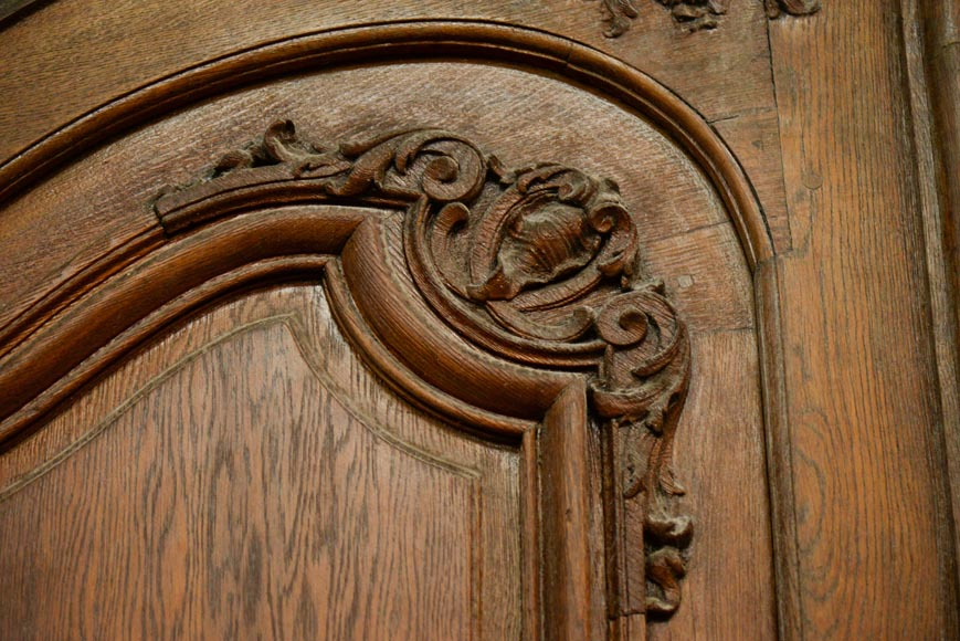 Important and rare door from an Haussmannian building in oakwood, late 19th century-9