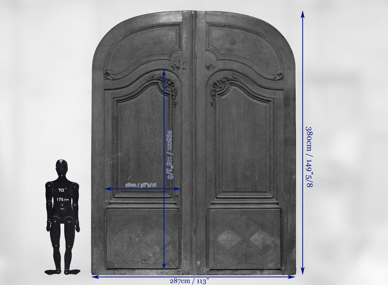 Important and rare door from an Haussmannian building in oakwood, late 19th century-11