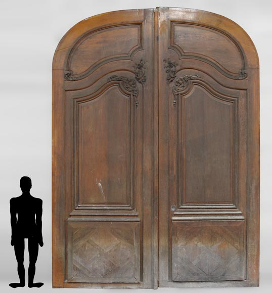Important and rare door from an Haussmannian building in oakwood, late 19th century  - Reference 3319