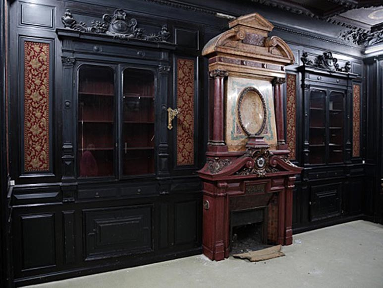 Rare Napoleon III paneled room in blackened wood with its monumental fireplace in stucco in imitation of porphyry-0