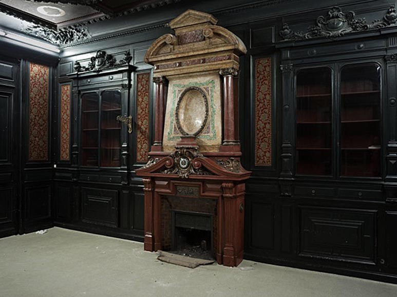 Rare Napoleon III paneled room in blackened wood with its monumental fireplace in stucco in imitation of porphyry-1