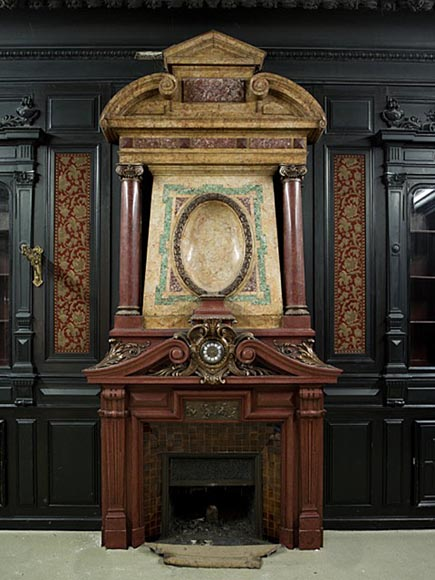 Rare Napoleon III paneled room in blackened wood with its monumental fireplace in stucco in imitation of porphyry-2