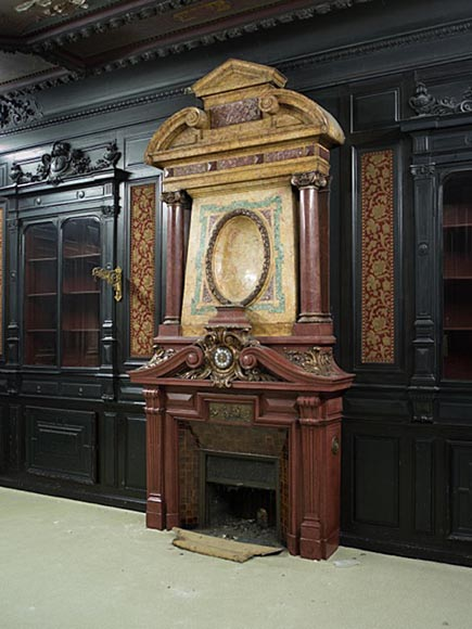 Rare Napoleon III paneled room in blackened wood with its monumental fireplace in stucco in imitation of porphyry-3