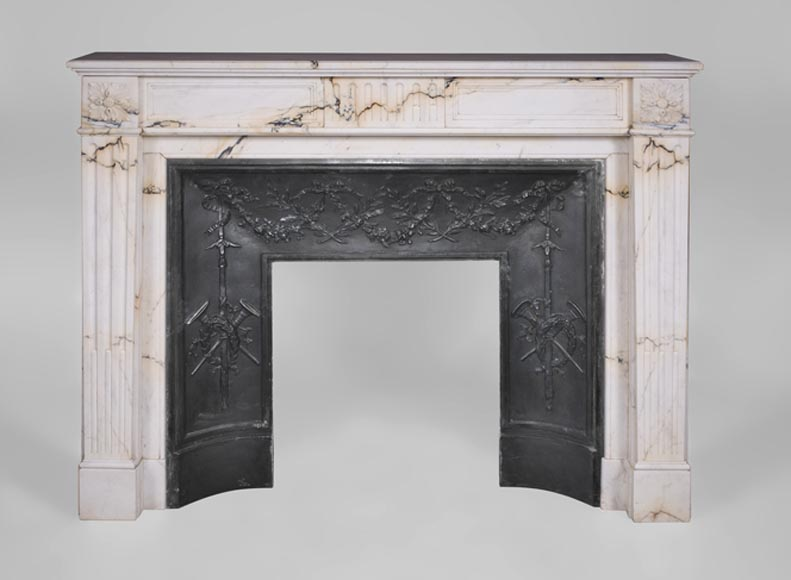 Antique Louis XVI style fireplace in Paonazzo marble with flutings decor - Reference 3321