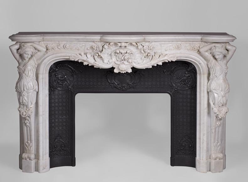 Exceptional antique Napoleon 3 fireplace with caryatids in white Carrara marble - Reference 3323